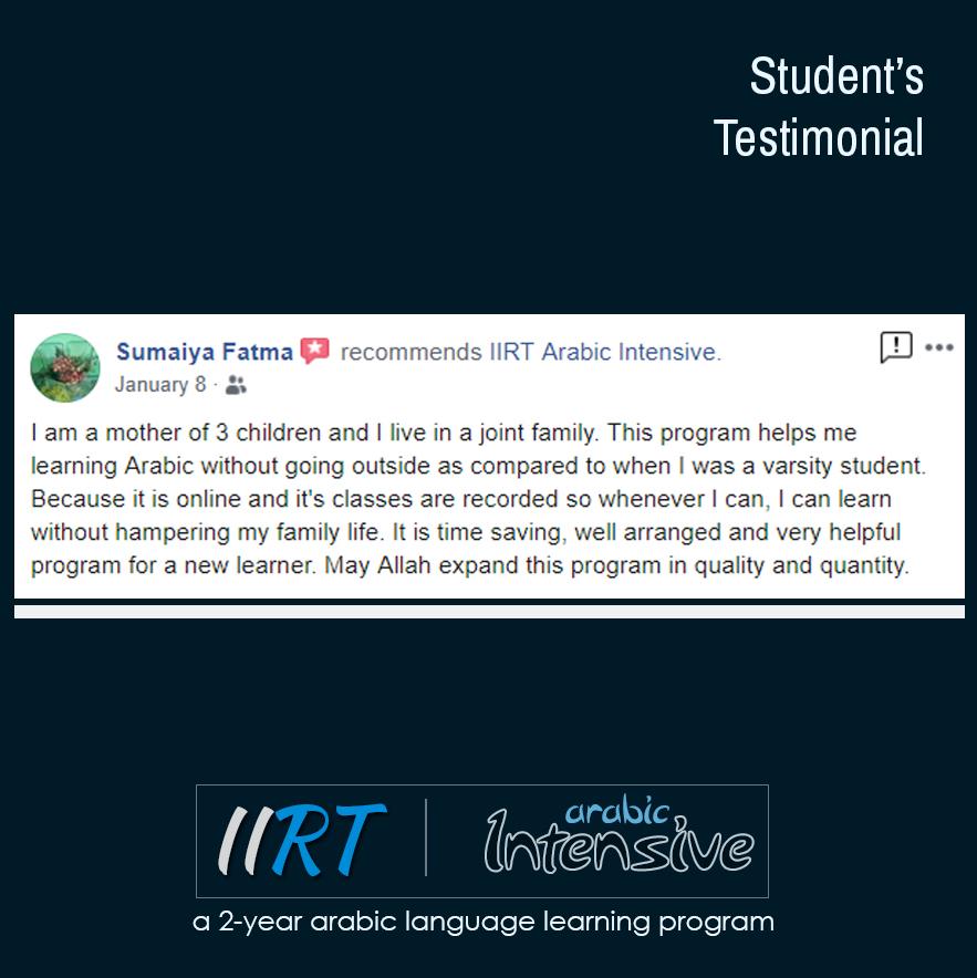 Testimonials – IIRT Arabic Intensive